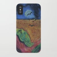 calvin and hobbes iPhone & iPod Cases featuring Crows Over A Wheat Field and Calvin by Sharon Marta