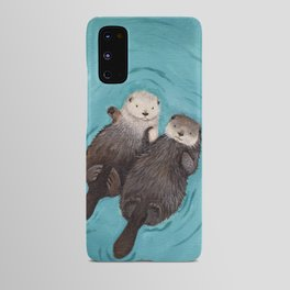Otterly Romantic - Otters Holding Hands Android Case