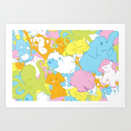 Animal March! Art Print