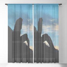 Evening Sunset Landscape - Mountain Girl Sheer Curtain