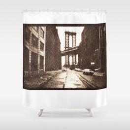 Manhattan Bridge in the 70s Shower Curtain