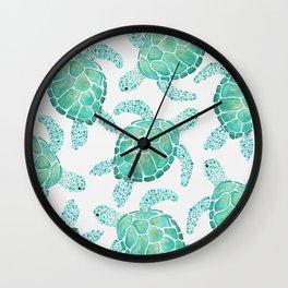 Sea Turtle Pattern - Blue Wall Clock