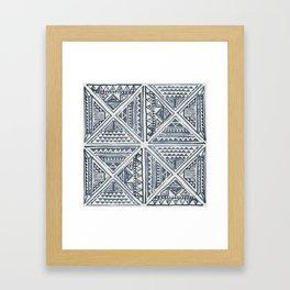 Simply Tribal Tile in Indigo Blue on Lunar Gray Framed Art Print