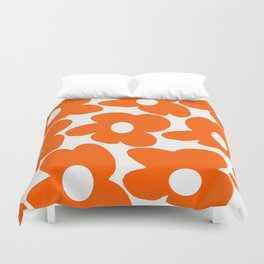 Orange Retro Flowers White Background #decor #society6 #buyart Duvet Cover