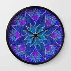 Lotus 2 - blue and purple Wall Clock