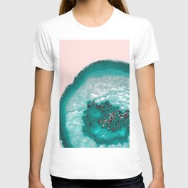 Turquoise Teal Agate with Black Glitter on Blush #1 #faux #glitter #gem #decor #art #society6 T-shirt