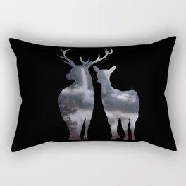 Forest deer family black pattern Rectangular Pillow