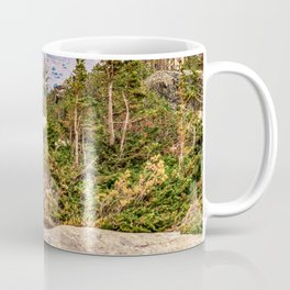 Pond on the Mountain // Beautiful Green Landscape of Trees and Mountains Coffee Mug