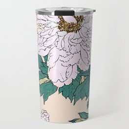 White Peonies Travel Mug