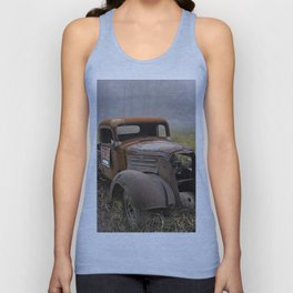 Vintage Chevy Pickup for Sale in a Field of Grass Unisex Tank Top