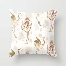 Chinese crane bird pattern Throw Pillow