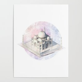 Agra Taj Mahal - axonometric Poster