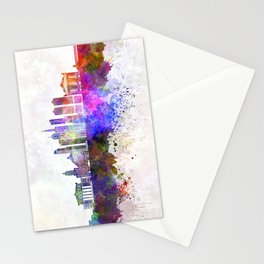 Chicago V2 skyline in watercolor background Stationery Cards