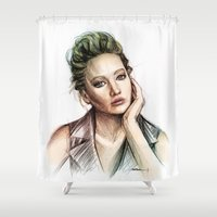 jennifer lawrence Shower Curtains featuring Jennifer Lawrence by Creadoorm