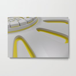 Bright futuristic technological shape with glowing lines Metal Print