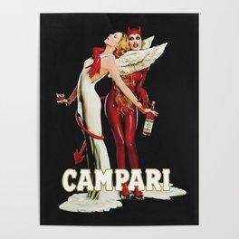 Vintage Campari Italian Bitters Aperitif Angel and Devil Advertisement Poster Poster