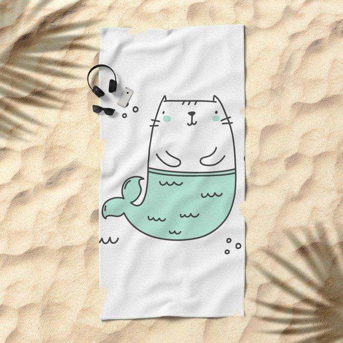 Merkitty Mint Green Beach Towel
