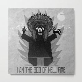 Bad Bear Hell Fire Metal Print