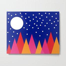 Moonlit Christmas Trees Metal Print