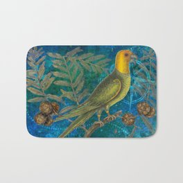Carolina Parakeet with Cypress, Antique Natural History and Botanical Bath Mat