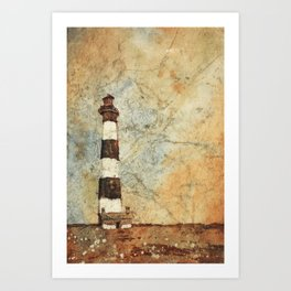 Fine art watercolor painting of Bodie Island lighthouse at sunset in the Outer Banks (OBX) of North Carolina- USA Art Print