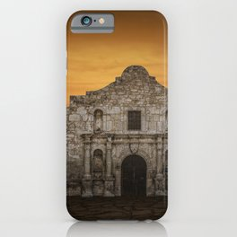The Alamo Mission in San Antonio Texas with the Lonestar Flag Flying No.0256 A Fine Art Historical P iPhone Case