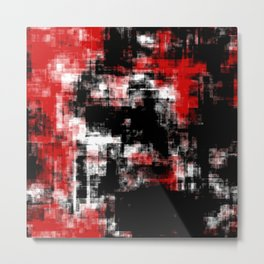 Black Red and White Abstract 77 Metal Print