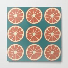 Grapefruit Slices on Blue, Red Orange Fruit Pattern Metal Print