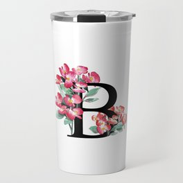 Letter 'B' Begonia Flower Monogram Typography Travel Mug