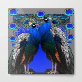 BLUE PEACOCKS BLUE MODERN GREY ART Metal Print