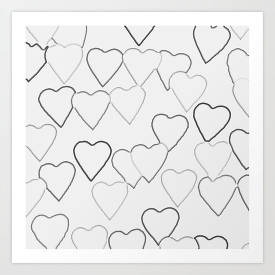 Black and White R Hearts Art Print