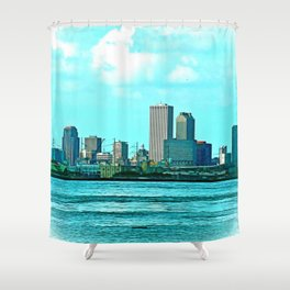 New Orleans Skyline (video game graphic style) Shower Curtain
