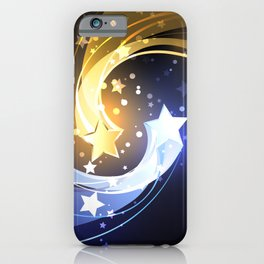 Background with Two Contrasting Stars iPhone Case