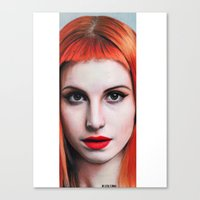 hayley williams Canvas Prints featuring Hayley Williams Drawing by Luca Leona