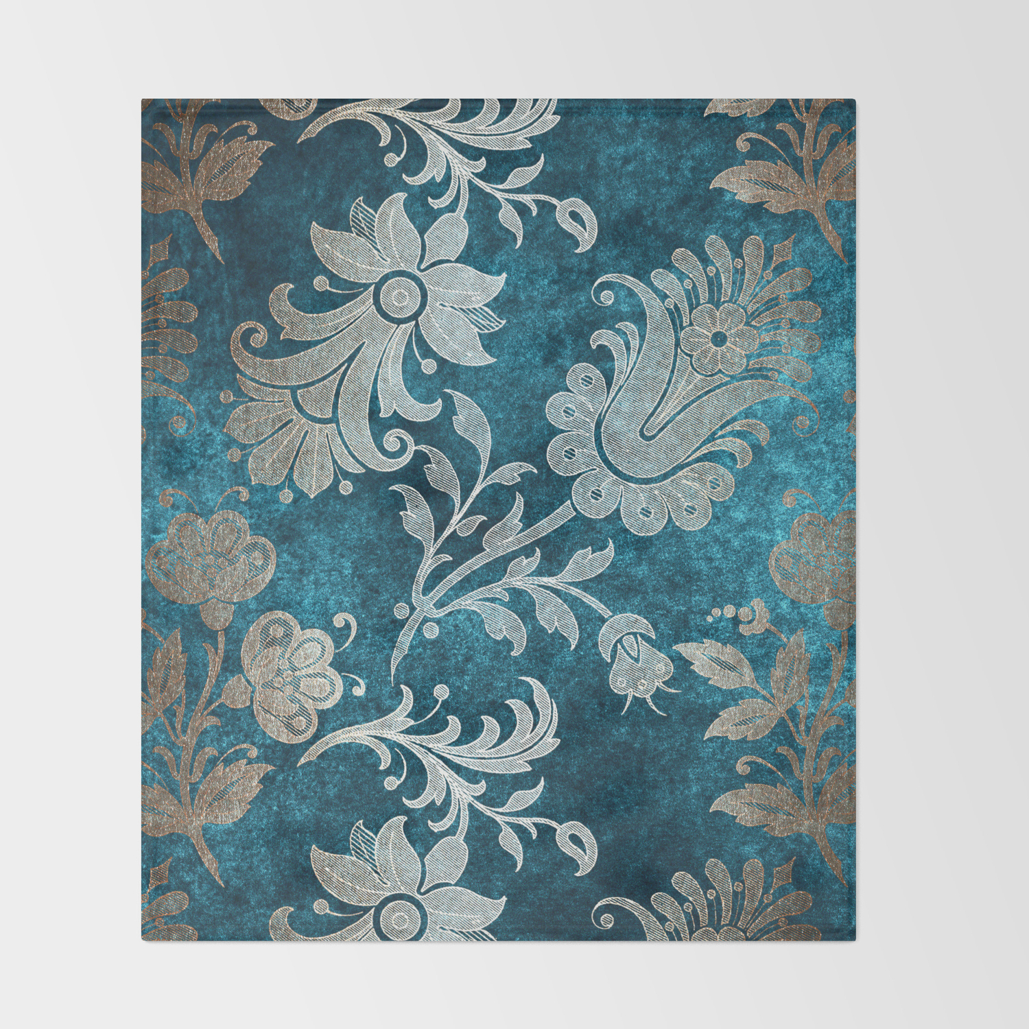 Aqua Teal Vintage Floral Damask Pattern Throw Blanket By