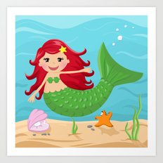 Mermaid from the Sea series Art Print