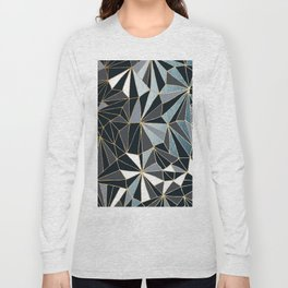Stylish Art Deco Geometric Pattern - Black, blue, Gold #abstract #pattern Long Sleeve T-shirt
