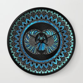 Egyptian Scarab Beetle - Gold and Blue glass Wall Clock