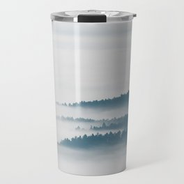 DIsappearing hills in fog Travel Mug