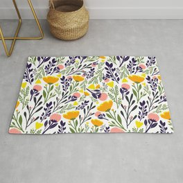 Colorful Floral Pattern Collection Rug