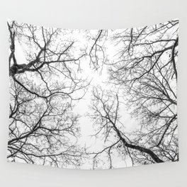Black branches, white sky Wall Tapestry