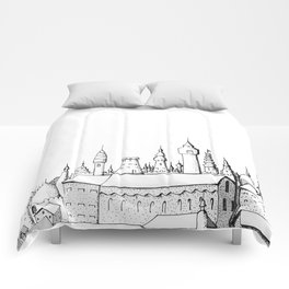 fabulous city . art . black and white Comforters