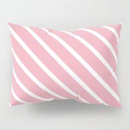 Peach Pink Diagonal Stripes Pillow Sham