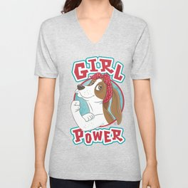Basset Hound Girl Power Unisex V-Neck