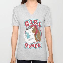 Basset Hound Girl Power Unisex V-Neck