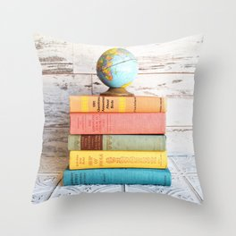 Candy Colored Stack of Books Throw Pillow