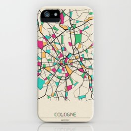 Colorful City Maps: Cologne, Germany iPhone Case