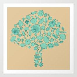 Fungi V2 Vintage Mushroom Pattern Art Print
