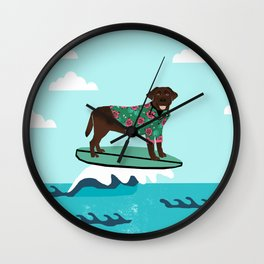 Chocolate Labrador surfing dog breed art Wall Clock