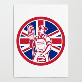 British Professional Cleaner Union Jack Flag Icon Poster